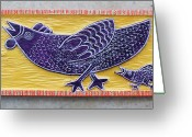 Woodcarving Reliefs Greeting Cards - Chicken and Chicken Little Greeting Card by James Neill