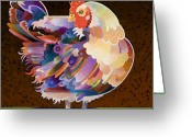 Stylized Art Greeting Cards - Chicken from Jamestown Greeting Card by Bob Coonts