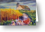 Rooster Painting Greeting Cards - Chickens in the Cornfield Greeting Card by Peggy Wilson