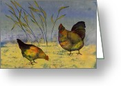 Blues Tapestries - Textiles Greeting Cards - Chickens On Silk Greeting Card by Carolyn Doe