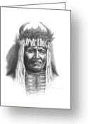 Buffalo Drawings Greeting Cards - Chief Big Face Greeting Card by Lee Updike