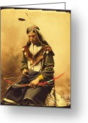 Native American Greeting Cards - Chief Bone Necklace Greeting Card by Pg Reproductions