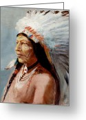 Native Portraits Greeting Cards - Chief Flying Eagle of the Blackfoot Tribe Greeting Card by Lewis A Ramsey