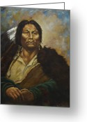 Lakota Greeting Cards - Chief Gall Greeting Card by Harvie Brown