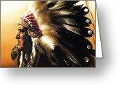 Headdress Greeting Cards - Chief Greeting Card by Greg Olsen