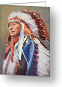 Headdress Greeting Cards - Chief Hollow Horn Bear Greeting Card by American School