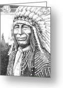 The American Buffalo Drawings Greeting Cards - Chief-Iron-Tail Greeting Card by Gordon Punt