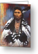 Great Plains Greeting Cards - Chief Joseph Greeting Card by Harvie Brown