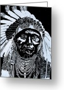 Chief Glass Art Greeting Cards - Chief Joseph Greeting Card by Jim Ross