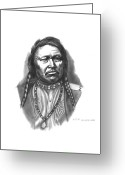 Native Drawings Greeting Cards - Chief Ouray Greeting Card by Lee Updike
