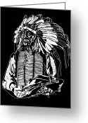 Chief Glass Art Greeting Cards - Chief Red Cloud 2 Greeting Card by Jim Ross