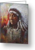 Native Portraits Greeting Cards - Chief Red Cloud Greeting Card by Harvie Brown