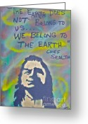 Sit-ins Painting Greeting Cards - Chief Sealth Greeting Card by Tony B Conscious
