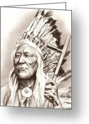 Photorealism Greeting Cards - Chief Washakie Greeting Card by Michael Mestas