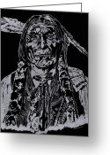 Chief Glass Art Greeting Cards - Chief Wolf Robe Greeting Card by Jim Ross