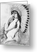 Western Pencil Drawings Greeting Cards - Chiefs Woman Greeting Card by Derek Hayes