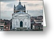 Places In Venice.venecia.venezia.venice Greeting Cards - Chiesa del Redentore Venice Greeting Card by Tom Prendergast