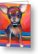 Custom Pet Portrait Greeting Cards - Chihuahua dog portrait Greeting Card by Svetlana Novikova