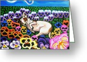 Stretched Canvas Greeting Cards - Chihuahua In Flowers Greeting Card by Genevieve Esson