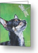 Chihuahua Greeting Cards - Chihuahua with dragonfly Greeting Card by Lee Ann Shepard