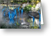 Landscape Glass Art Greeting Cards - Chihuly Blue Fog Greeting Card by Cheryl McClure