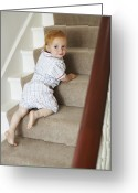 Bannister Tapestries Textiles Greeting Cards - Child Climbing Stairs Greeting Card by Ian Boddy