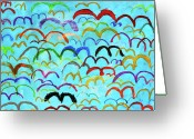 Drawing Greeting Cards - Child Drawing Of Colorful Birds In Blue Sky Greeting Card by Donald Iain Smith