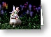 Make Believe Greeting Cards - Child Fairy on Mushroom Greeting Card by Cindy Singleton