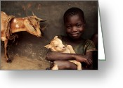 Uganda Greeting Cards - Child Holding A Kid Greeting Card by Mauro Fermariello