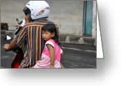 Girl On Bike Greeting Cards - Child Of Bali Greeting Card by Kamel Rekouane