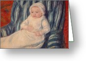Cassatt Greeting Cards - Child on a Sofa Greeting Card by Mary Cassatt
