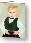 Grandson Greeting Cards - Child with a Toy Greeting Card by Ethel Vrana