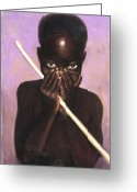 African American Greeting Cards - Child with Stick Greeting Card by L Cooper