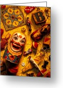 Face Greeting Cards - Childhood toys Greeting Card by Garry Gay