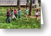 Fun Greeting Cards - Children - Tug of War  Greeting Card by Mike Savad