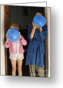 Pajamas Greeting Cards - Children blowing up balloons Greeting Card by Sami Sarkis