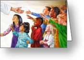 Children Greeting Cards - Children Coming to Jesus Greeting Card by John Lautermilch