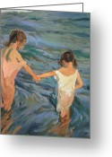 On The Beach Greeting Cards - Children in the Sea Greeting Card by Joaquin Sorolla y Bastida