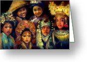 Costumes Painting Greeting Cards - Children of Asia Greeting Card by Jean Hildebrant