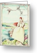 Swans Painting Greeting Cards - Children Of Llyr Greeting Card by Morgan Fitzsimons