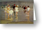 Kid Painting Greeting Cards - Children on the Beach Greeting Card by Edward Henry Potthast