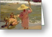 Beach Scenes Greeting Cards - Children on the seashore Greeting Card by Joaquin Sorolla y Bastida