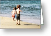 Creative Passages Photo Greeting Cards - Children playing at the beach Greeting Card by Cassandra Donnelly
