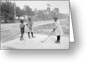 1905 Greeting Cards - Children playing Golf Greeting Card by Stefan Kuhn