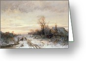 Snow Scenes Greeting Cards - Children playing in a winter landscape Greeting Card by August Fink