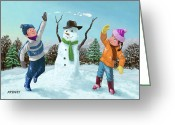 Boy Room Art Greeting Cards - Children Playing In Snow Greeting Card by Martin Davey