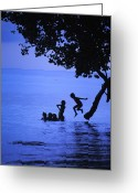 Humans Greeting Cards - Children Playing, Jumping From A Tree Greeting Card by Greg Dale