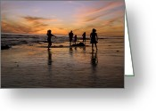 Five People Greeting Cards - Children Playing On The Beach At Sunset Greeting Card by James Forte