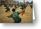 Uniforms Greeting Cards - Children Practice Kung Fu In A Field Greeting Card by Justin Guariglia