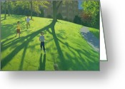 Great Painting Greeting Cards - Children Running in the Park Greeting Card by Andrew Macara